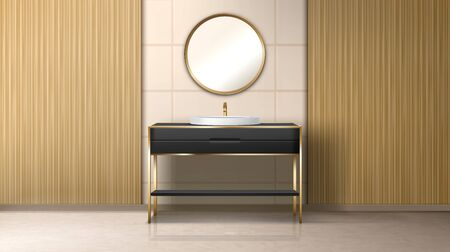 Bathroom with washbasin and gold round mirror on wall. Empty bath room or toilet interior with black table, sink, tiled wall. Stylish home or luxury hotel design. Realistic 3d vector illustration