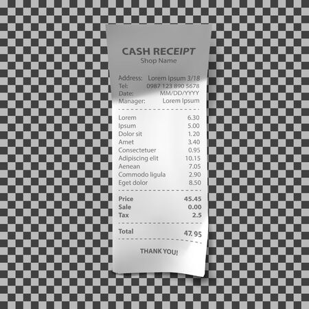 Shop receipt realistic isolated vector illustration. Direct paper payment bill with goods and their price, tax and total amount Ilustracja