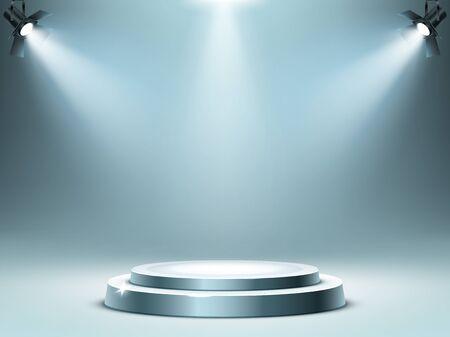 Podium rond ou scène dans les rayons des projecteurs, illustration vectorielle réaliste. Piédestal pour le gagnant ou la cérémonie de remise des prix, plate-forme vide pour la présentation, la performance ou le spectacle en boîte de nuit, à venir