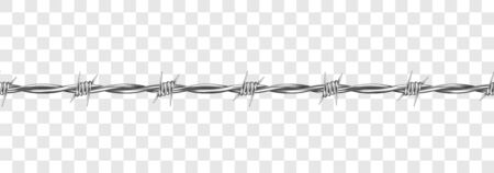 Metal steel barbed wire with thorns or spikes realistic vector illustration isolated on transparent background. Fencing or barrier element for danger industrial facilities or prisons