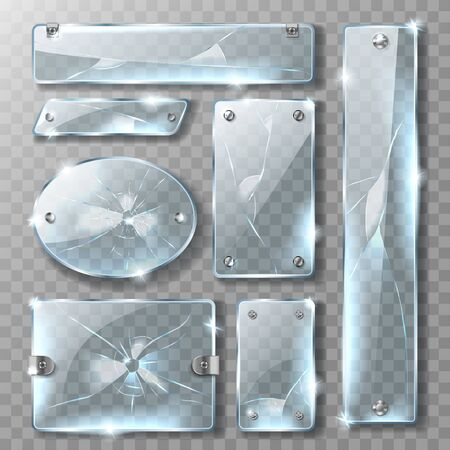 Cracked glass banner or plate with metal mount and bolts, realistic vector illustrations. Blank broken blue acrylic glass panel with steel fastener and cracks isolated on transparent background