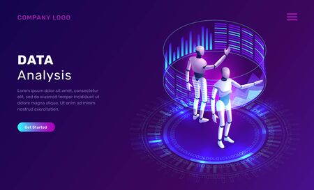 Data analysis, artificial intelligence isometric concept vector illustration. Two robots or cyborgs analyze information on a holographic virtual screen with graphs and diagrams, future technology