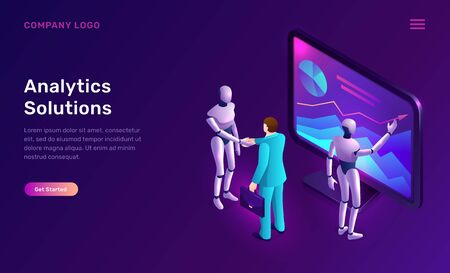 Data analysis or analytics solutions, isometric concept vector illustration. Two artificial intelligence robots or cyborgs analyze information on tablet screen with graphs, diagrams, future technology