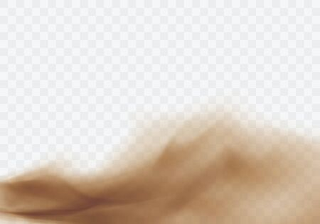 Desert sandstorm, brown dusty cloud or dry sand flying with gust of wind, brown smoke realistic texture with small particles or grains vector illustration isolated on transparent background