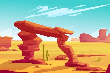 Desert arch on natural background of hot desert landscape with yellow sand, red mountains, blue sky with light clouds and green cacti, wilderness banner Illustration