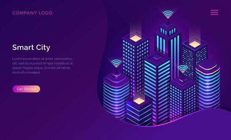 Smart city, internet of things and wireless network technology, isometric concept vector illustration. Tall urban buildings with symbol wireless internet isolated on ultraviolet background Illusztráció