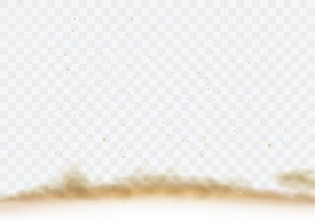 Desert sandstorm, brown dusty cloud border or dry sand flying with gust of wind, brown smoke realistic texture with small particles or grains vector illustration isolated on transparent background