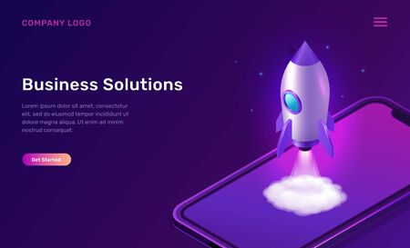Business start up isometric concept vector illustration. Rocket taking off with fire and smoke cloud, mobile phone on ultraviolet background. Spaceship launching purple web page Vettoriali