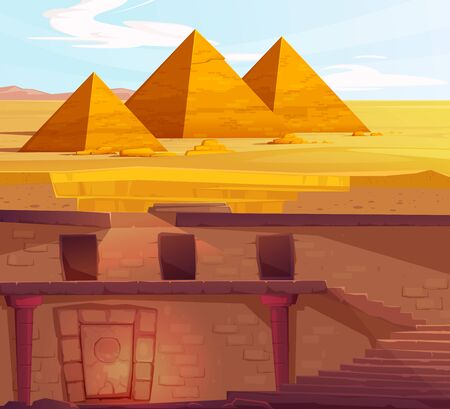 Ancient Egypth, lost looted tomb of pharaoh or abandoned temple interior, underground cartoon vector. Archeological excavations, treasures hunting concept. Desert, dug sand and sunbeam in empty crypt 向量圖像
