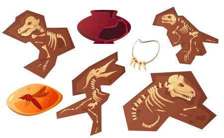 Archaeological and paleontological finds cartoon vector illustration. Ancient ceramic vase, fossil dinosaur skeleton, amber insect and tooth necklace, isolated on white