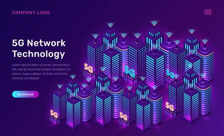 5G network technology, isometric concept vector illustration. Smart city, tall buildings with 5G symbol wireless internet isolated on ultraviolet background. High speed internet web page