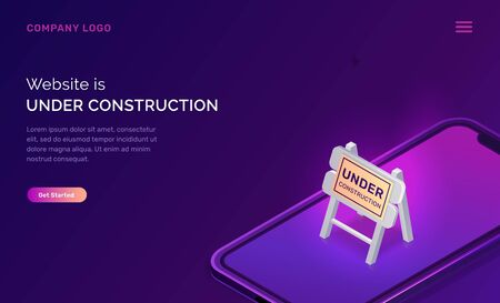 Website under construction, maintenance work or error page isometric concept vector illustration. Mobile phone screen and warning road traffic sign, purple ultraviolet web page banner