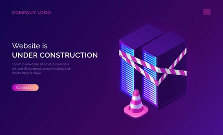 Website under construction, maintenance work or error page isometric concept vector illustration. Server racks with warning signal tape and traffic cone, purple ultraviolet web banner