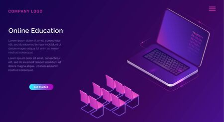 Online education or training isometric concept vector illustration. Open laptop screen and seats icons on purple banner, landing web site page for distance educational courses Ilustración de vector