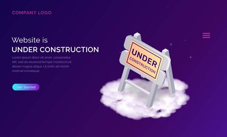 Website under construction, maintenance work or error page isometric concept vector illustration. Warning road traffic sign on white cloud, purple web page banner