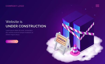 Website under construction, maintenance work or error page isometric concept vector illustration. Server racks with warning signal tape, traffic cone and road traffic sign on cloud, purple web banner