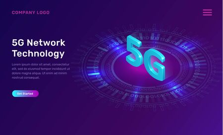 5G network technology, isometric concept vector illustration. 5G symbol wireless internet over glowing blue neon ring isolated on ultraviolet background. High speed internet web page