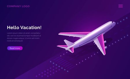 Hello, vacation, isometric travel concept vector illustration. Airport runway with burning lights and plane taking off on purple background. Modern design for web page, ticket sales or travel agency