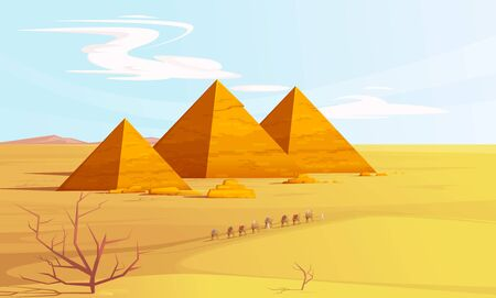 Desert landscape with egyptian pyramids and camels caravan, cartoon vector illustration. Hot golden sand dunes with pyramids on horizon and bedouins with camels. Desert banner Vecteurs