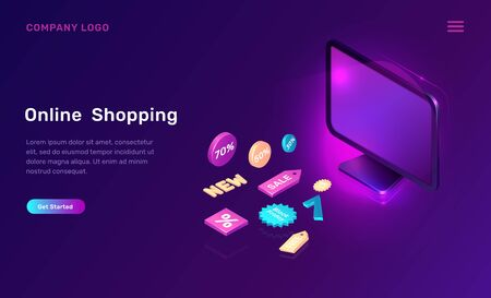 Digital marketing and online shopping, isometric concept vector illustration. Computer monitor or screen and 3D sale and discount promo icons, landing web page, ultraviolet sale banner Illustration
