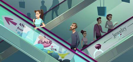 People on escalators in mall. Ilustración de vector