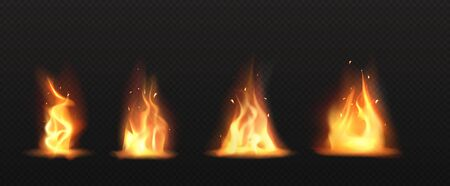 Realistic fire, torch flame set isolated on transparent background. Burning campfire or candle blaze effect, glow orange and yellow shining flare design elements 3d vector illustration, icon, clip art Banco de Imagens - 142918118