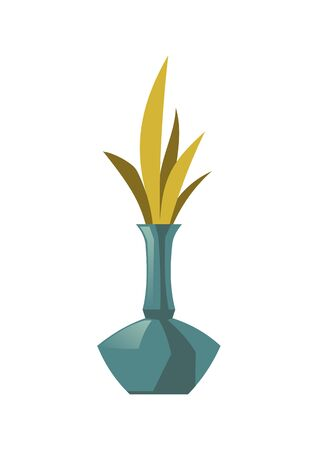 Blue vase with plant leaves isolated on white background. Vector cartoon icon of spring bouquet in decorative glass bottle or jug. Green flower decoration element for home interior
