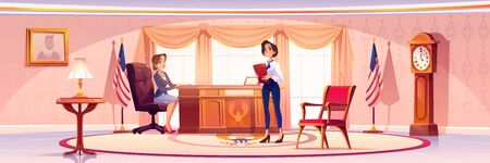American presedent and secretary in Oval office in White house. Vector cartoon illustration of two women politician in government cabinet with vintage furniture, flag of USA and portrait on wall Vettoriali
