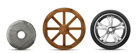 Wheels evolution from primitive stone ring, ancient wooden to modern car tire with disk. History of transport wheels. Vector set of old and new invention isolated on white background