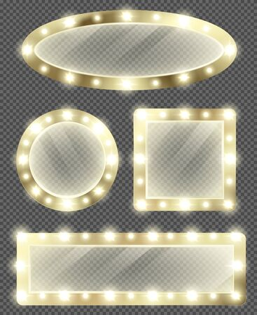 Makeup mirror in gold frame with light bulbs. Vector realistic different shapes mirrors for theater actors or fashion model dressing room isolated on transparent background