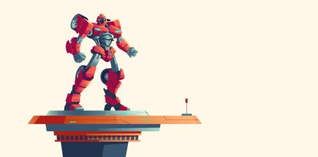 Red robot transformer standing on spaceship top isolated background, cartoon vector illustration. Powerful robot transformed from car, alien invader, fantasy cyborg soldier  イラスト・ベクター素材