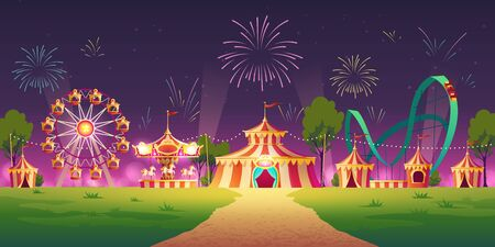 Carnival funfair, amusement park with circus tent, attractions and fireworks in sky. Vector cartoon illustration of night summer landscape with roller coaster, carousel and ferris wheel Illustration
