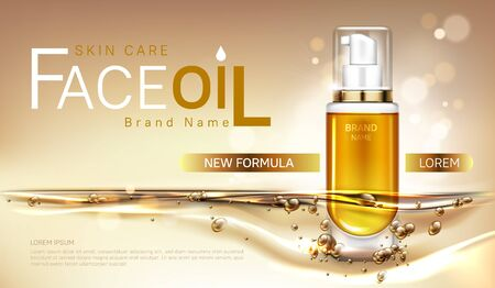 Face oil cosmetics bottle mock up banner, repair beauty skin care product pump tube with gold liquid on blurred background. Facial cosmetic package design, magazine ad Realistic 3d vector illustration