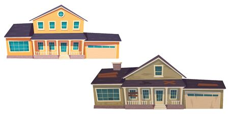 Old broken slum house and new cottage. Abandoned dilapidated building with boarded up windows and modern suburban home with garage. Vector cartoon wooden houses isolated on white background Illustration
