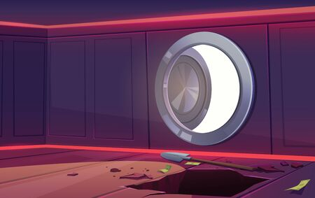 Robbery from bank vault safe. Vector cartoon illustration of empty room with open door, some money and dug hole. Concept of steal, finance crime, loose money or bankruptcy