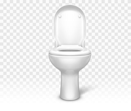 Toilet with seat. White ceramic lavatory bowl with open lid front view mockup template for interior design isolated on transparent background. Realistic 3d vector illustration, clip art