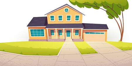 Suburban cottage, residential house with garage. Vector cartoon illustration of village mansion facade. Summer countryside landscape of with private building and tree Banque d'images - 145510924
