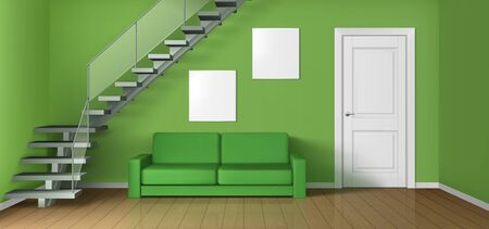 Empty living room with sofa, staircase and white closed door. Vector realistic modern interior of home hallway, office or studio with wooden floor, green walls, couch and blank posters
