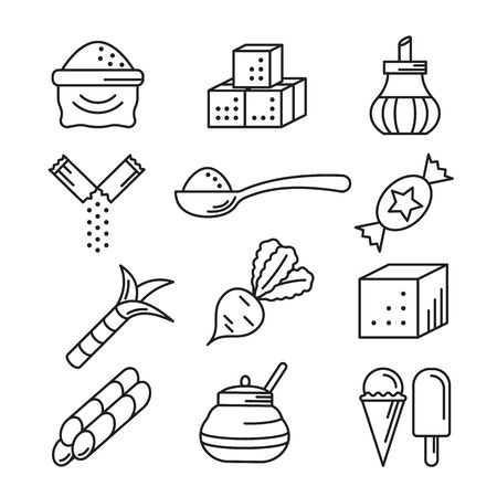 Sugar icons line art vector illustration isolated on white background. Signs of sugar-bowl, cane and beet, sweet cubes, candy and ice cream, bag and spoon