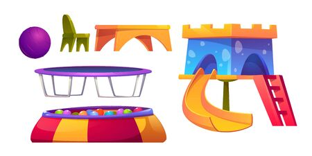 Playroom in kindergarten with table and chair, slide, ball pool and trampoline. Vector cartoon set of furniture for children room in day care center or playground isolated on white background