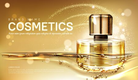 Oil perfume bottle with gold liquid on blurred sparkling background. Scent glass tube package design mockup. Women fragrance cosmetic product, promo poster ad. Realistic 3d vector illustration, banner