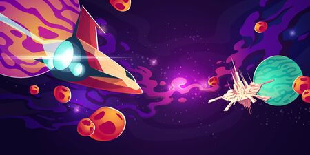 Spaceship in outer space with planets in starry sky with nebula and flying galaxy city or station with high towers. Cosmos, universe futuristic fantasy view for pc game. Cartoon vector illustration