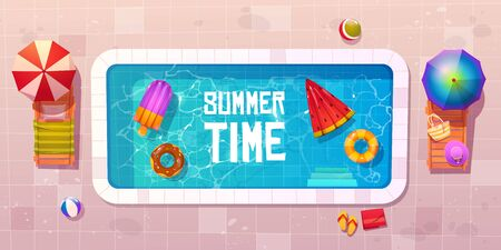 Swimming pool with deck chairs, umbrellas, inflatable rubber rings and rafts in water. Vector cartoon summer time banner with empty poolside top view. Tropical resort vacation, resting in hotel