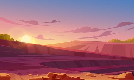 Landscape with mining quarry at sunset. Opencast mine with rubble, sand or marble. Vector cartoon illustration of ore extraction open cast, digging pit in rock, earth or sandstone