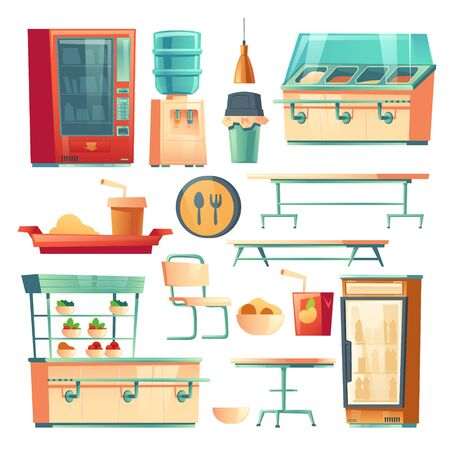 Canteen furniture in school, college or office. Vector cartoon set of isolated tables, chair, counter bar, vending machine with food and drink, water cooler and fridge in cafeteria or dining room