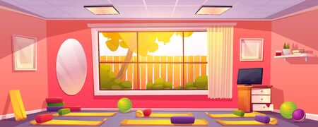 Yoga studio at home, empty gym room with mats, bearing blocks and balls props on floor. Domestic interior with sports fitness and pilates equipment front of wide window. Cartoon vector illustration