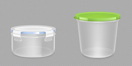 Round plastic food containers with clipping path and latch lock lids. Storage for frozen products, lunchbox for meal, package isolated on transparent background, Realistic 3d vector mock up, clip art Vecteurs
