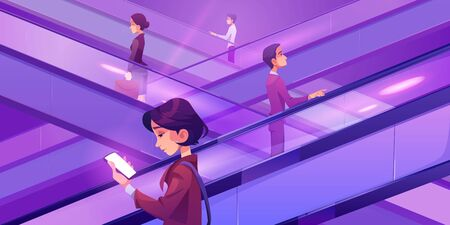 People on escalators in mall. Moving staircase, automatic ladder carrying men and women up and down. Vector cartoon illustration of woman using smartphone on elevator stairs in shopping center