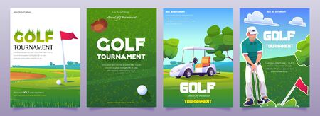 Golf tournament posters with illustration of green course, cart, tee and player. Vector cartoon flyers for advertising sport competition with grass, flag and putter. Golf club vertical banners