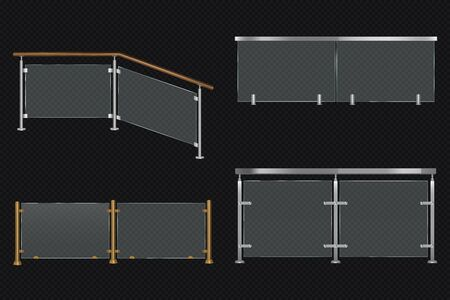 Glass balustrade with iron banister front and angle view. Vector realistic mockup of different sections of clear acrylic fence with metal or wooden railing isolated on transparent background